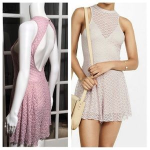 Express pink lace romper